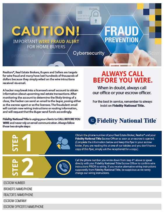 Real Estate Fraud Alert Wiring Instructions From Escrow For Buyers